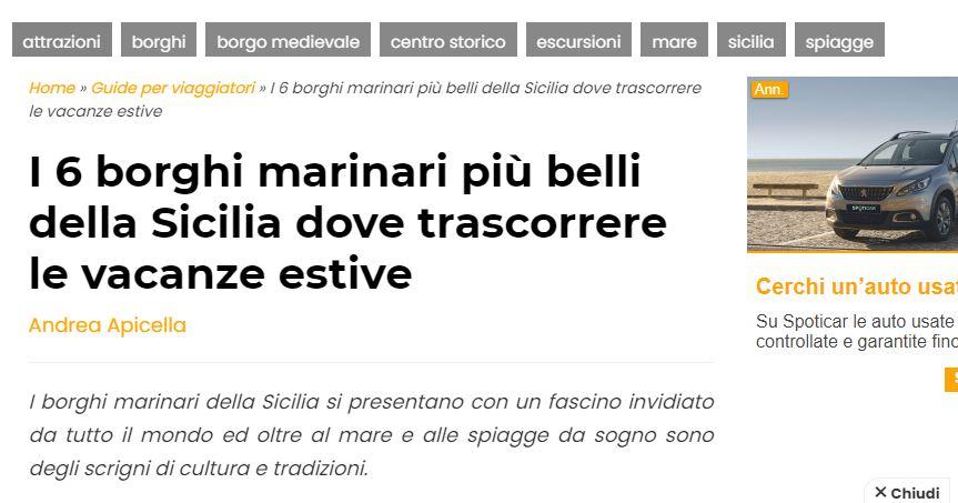 """BROLO – C'è!..nella Guida di """"Voloscontato"""" tra i 6 borghi marinari da """"Vivere"""" in Sicilia"""