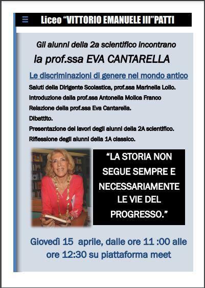 """PATTI – Vittorio Emanuele III """"Le discriminazioni di genere nel mondo antico"""""""