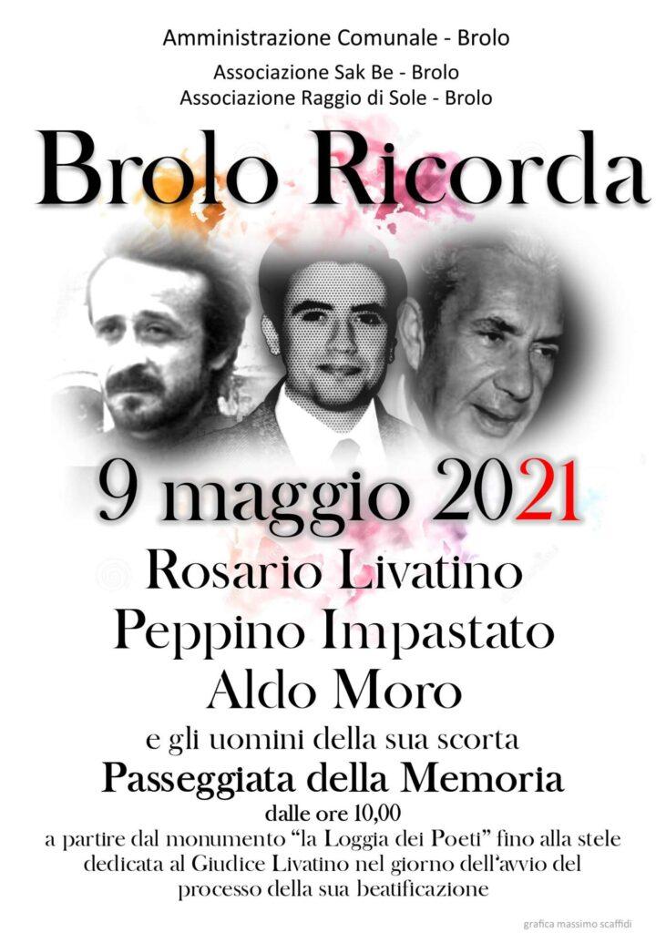 """BROLO RICORDA – Domani """"passeggiata virtuale""""  in memoria di Livatino, Impastato e Moro"""