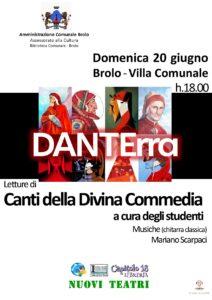 DANTErra – A Brolo domenica letture dei canti della Divina Commedia … in villa